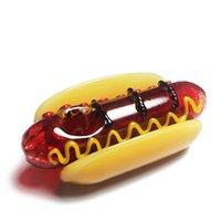 Tuyau de verre drôle de verre 4 pouces de tabac à cuillère à la main à la main tabagisme tuyau de tabac à mazout battant huble head hot hot dog forme