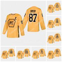 87 Sidney Crosby Pittsburgh Penguins Prática de ouro Jersey 77 Jeff Carter Evgeni Malkin Kris Letang Jake Guentzel Jared McCann Jason Zucker Tanev Hockey