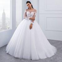 New Arrival Vestido de Noiva Appliques Long Sleeve Lace Wedding Dresses Backless Sexy Bride Dresses Cheap Wedding Gowns