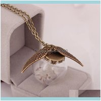 Necklaces & Pendants Jewelrywomen Dandelion Necklace Dried Flower Glass Pendant Clavicle Chain Wing Sweater Decorative Jewelry Aessories Cha