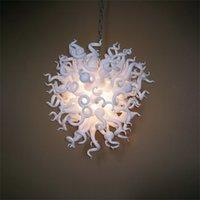 현대적인 우아한 램프 LED Blown Murano 샹들리에 화이트 아트 유리 펜던트 조명 32x32 인치 현대 빌라 장식 Chihuly 스타일 샹들리에 조명