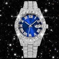 Наручные часы задумывались кубическими циркониями часы синие лица хип-хоп мода высококачественный алмазный браслет из нержавеющей стали кварцевые часы для меня