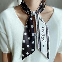 Scarves 6*100cm Wild Long Ribbon Silk Scarf Women Dot Letter Shawl Twill Bandanas Lady Luxury Scarfs Hairband Neckerchief