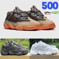 Çöl Sıçan 500 Koşu Ayakkabıları Kanye Batı Yansıtıcı Taş Kemik Beyaz Yardımcı Programı Siyah Yumuşak Vizyon Allık Tuz Süper Ay Sarı Sneaker Kutusu