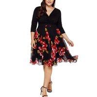 Ethnic Clothing Elegant Dresses For Women Vintage Midi V Neck Wrap Chiffon Floral Long Sleeve Plus Size Prom Dress Femme Robe Vestidos