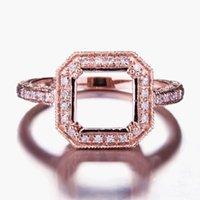 Anéis de Cluster Helon 8x8mm Almofada Corte Sólido 14K Rose Gold Engagement Genuine Natural Diamantes Fine Jóias Semi Mount Anel de Casamento