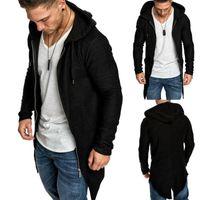 Men's Jackets Clothes Long Cardigan Coats Hooded Coat Zip Up Sports Hoodie Autumn Winter Men Sleeve Warm Thin Solid Zipper