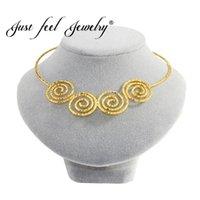 Indien Dubai Schmuck Persönlichkeit Runde Spirale Chokers Halsketten Gold Farbe Whirlpool Lätzchen Kragen Frauen