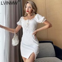 Sexy Slash Neck Side Split Lace Up White Puff Sleeve Ruffles...