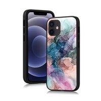 Cas de téléphone à motif aquarelle pour iPhone 12 11 PRO Max XS XR 7 8 Plus peinture en marbre de brosse à brosse à encre
