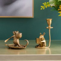 Candle Holders Retro Brass Small Candlestick Handmade Carved Mouse Holder Home Copper Decoration Tray Creative Candlesticks Decor