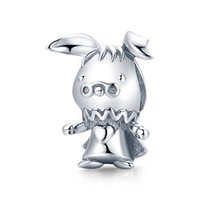 Mix Design 100% 925 Sterling Silver Cute playful rabbit diy charm accessories fairy tale forest animal loose beads fit Bracelet Gifts wholesale Trendy Style Bijoux