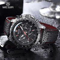 Montres à bracelets étanches sur montre-bracelet à quartz de MEGIR mode de mode pour hommes occasionnels Montre noire Homme 1010 210728