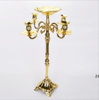 En yüksek puanla altın kaplama kat şamdan 83 cm metal mumluk, güzel çiçek kase ile saf altın şamdan HWB10592