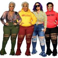 ZJFZML ZZ Damen Kleidung Hose Große Größe Hohe Taille Aushöhlen Ripping Jeans Flare Bell Bottom Hose Dropshipping Großhandel
