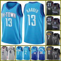 2020 2021 New Basketball Jersey James Harston Houston.로켓 도노반 미첼 조이 엠파이드 벤 Simmons Kawhi Jayson Tatum 973974
