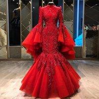 레드 머메이드 이슬람 이브닝 드레스 높은 목 레이스 아플리케 스팽글 전체 슬리브 구슬 공식 무도회 드레스 플러스 크기