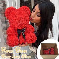 Luxury Rose Bear Heart Teddy Artificial PE Flowers In Carton Box Wedding Birthday Valentines Christmas Gift For Women Decorative & Wreaths