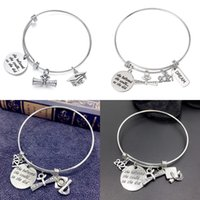 Wholesale Graduation Gift Stainless Steel Wire Adjustable Expandble Bangle 2021 Graduation Charm Bracelets Graudaters Gift Jewelry 90 W2