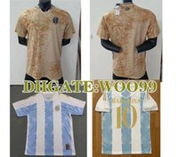 2021 2022 Argentina Blue Gold Player الإصدار 21 22 مفهوم كرة القدم جيرسي مارادونا شارة خاصة للعناصر الذهبية ميسي دي ماريا هيجين إيكاردي