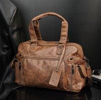 Wholesale men leathers shoulder bags multifunctional pocket decoration business briefcase vintage frosted leather handbag large horizontal fashion travel bag