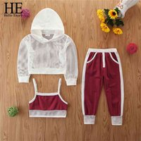 HE Hello Enjoy Baby Girl Kids Summer Outfits Clothes Sets Net Hooded T-Shirt Tops Pants Casual Sets Teenage Girls Tracksuits 210729