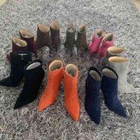 Dress Shoes Bota feminina de salto alto 10cm, calçado bico fino com zíper, novo inverno ZX90