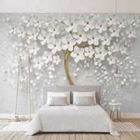 Özel Herhangi Boyutu Duvar Resimleri Duvar Kağıdı 3D Stereo Beyaz Çiçekler Duvar Boyama Oturma Odası TV Kanepe Yatak Odası Backdrop Duvar Papel de Parede Q0723