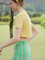 MintCheese Independent Design Amusement Park American Retro Girl Letter Print Short Yellow T-shirt Women's Blouses & Shirts