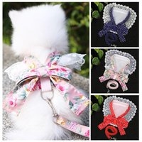 Dog Collars & Leashes 2021 Arrival Fashion Pet Harness And Leash Set For Small Dogs Cats Bow Vest With Lace Bib Neckerchief