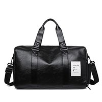 Men's leisure travel bag, PU leather, large capacity messenger bag, with shoes and storage box, black, used for gym and travel J0609