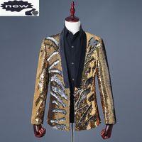 Erkek Altın Sequins Suit Kulübü DJ Glitter Sihirli Sahne Gösterisi Slim Fit Blazer Ceket Adam Rahat Dış Giyim Hombre Hırka Ceket Erkek Takım Elbise Blaze