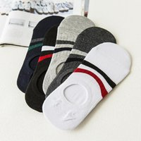 Men's Socks 5 Pairs Lot Comfortable Anti-slip Cotton Short Invisible Male Boat Fashion Striped Style Ankle