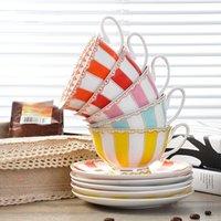 Rainbow Bone China Tea Cup Saucer Spoon Set British Ceramic Teacup 200ml Valentine Advanced Porcelain Coffee Cups & Saucers