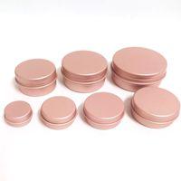 30PCS Rose Gold Screw Thread Empty Aluminum Cream Jar Tin Cosmetic Lip Balm Containers Nail Decor Crafts Pot Refillable Bottles