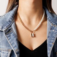 Asymmetric Pearl Chains Chokers Necklaces Lock Pendant Necklace For Women Gold Silver Color Collare Fashion Party Jewelry 3367 Q2