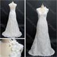 2016 Lace Wedding Dresses Bridal Gowns Two Piece layers V Neck Stretch Satin Real Actual Images 8764