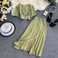 Kadınlar İki Parçalı Set 2021 Seksi Yaz Kıyafetler Kadın Giysileri Moda V Boyun Kırpma Üst + Ince A-Line Uzun Etekler Takım Elbise 2 adet Setleri
