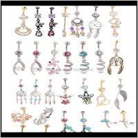 Anéis de sino gota entrega 2021 atacado 20 pcs mistura estilo Botão de barriga do corpo Piercing Dangle Dangle Nave Ring Beach Jewelry Cluic