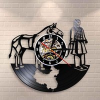 Vintage Art Wall Clock Chinese Guide The Emperor To Next Life Xian Terracotta Warriors Horse Record Clocks