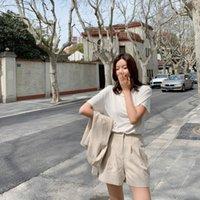 Primavera coreano mini abito da donna estate sottile manica corta manica corta versatile stile occidentale età in età riducendo pantaloni due pezzi