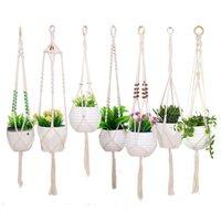 식물 옷걸이 코튼 로프 꼰 실내 야외 꽃 냄비 교수형 화분 바구니 그물 주머니 홈 정원 장식