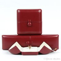 Red Wine Jewelry Gift Box Packing Two Doors Button PU Leather Engagement Ring Pendant Necklace Earring Bangle Bracelet Gifts Packaging Boxes