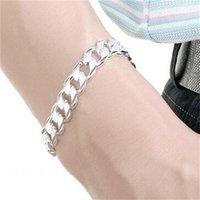 10 мм квадратная пряжка боковой узор руки рукой - мужской стерлинговый серебристый браслет; Мужчины и женщины 925 серебряный браслет 591 Q2
