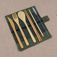 Conjunto de talheres portáteis Viagem ao ar livre Bambu Jogo de talheres Faca Pauzinhos Colher de Forquilha Colher Conjuntos de Louça para Aluno Tableware LLB9957