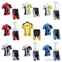 New Scott Team Cycling Mangas cortas Jersey (babero) Pantalones cortos Establece ropa de bicicleta de alta calidad para bicicletas de secado rápido E3008