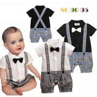 Младенческие комбинезоны для мальчика с бабочковым галстуком ребенка один кусок детей подняться на одежду малыша клетчатые коммуникации