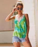 Tie-dye lace edge tops V-neck lady summer sleeveless t-shirts green color