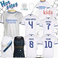 Real Madrid 21 22 Jersey de fútbol Ronaldo Hazard Sergio Ramos Benzema Casemiro Asensio Isco Mendy Football Shirts Uniforms Men + Kids Kit 2021 2022 Versión del jugador