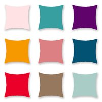 Kissenbezug Hersteller Großhandel Moderne einfache Mode Pure Farbe Baumwolle Leinenabdeckung Bürokissen, um die Figur anzupassen